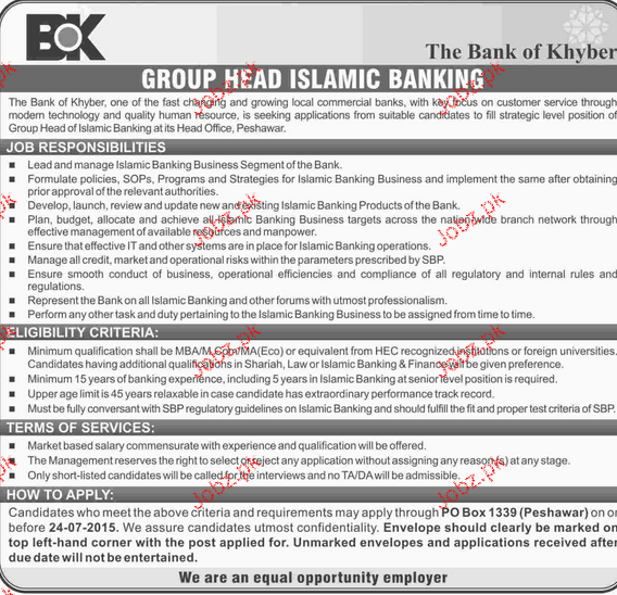 Group Head Islamic Banking Job in The Bank of Khyber