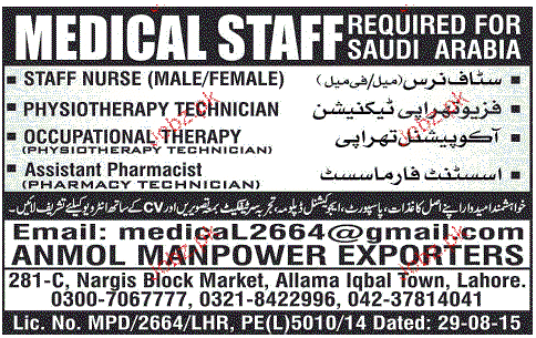 Staff Nurses, Physiotherapy Technicians Job Opportunity