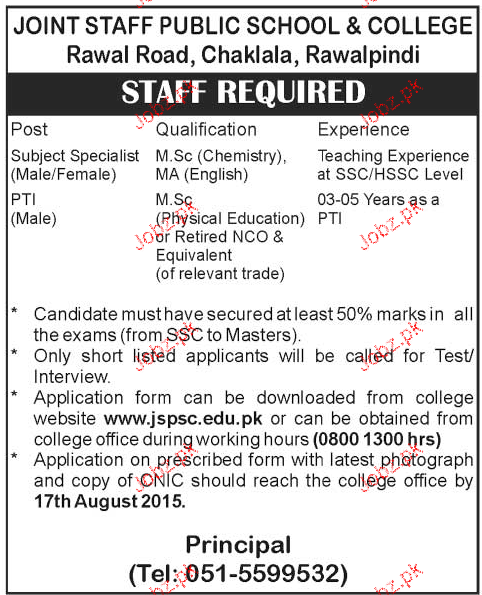 Subject Specialist and PTI Job in Joint Staff Public School