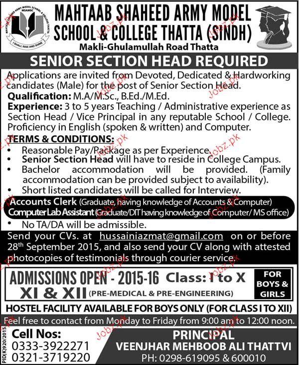 Senior Section Head Job in Mehtab Army Model School