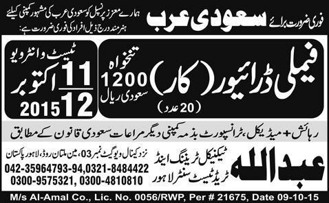 Family Car Drivers Job Opportunity 2020 Job Advertisement Pakistan