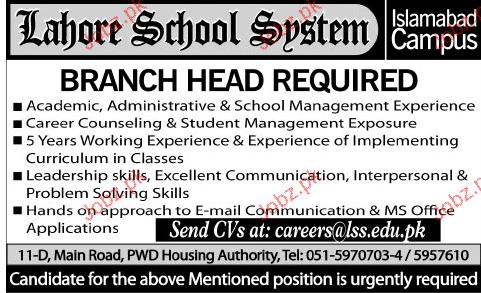 Branch Head  Job Opportunity