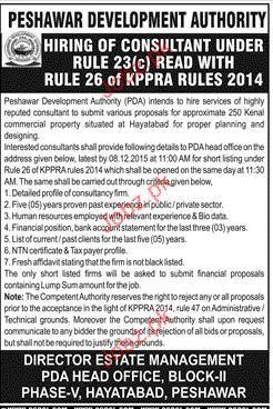 Consultants Job in Peshawar Development Authority