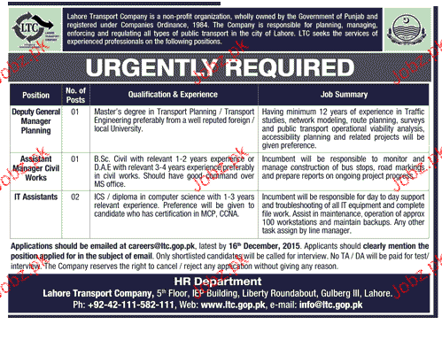 Quality Control Manager and IT Associates Job Opportunity