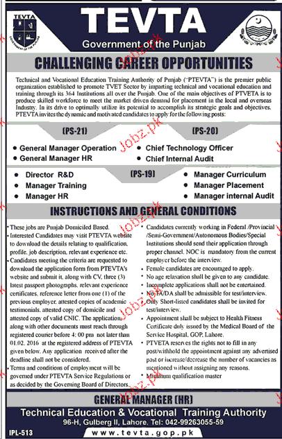 Manager HR, Manager Internal Audit Job in TEVTA