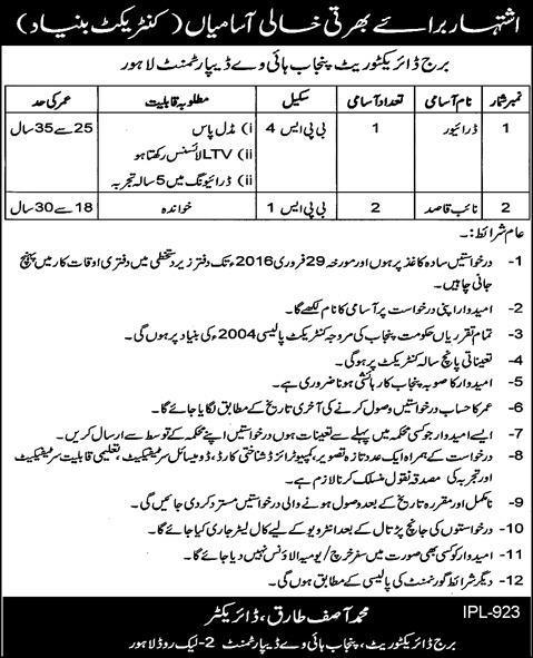 Driver for Punjab Highway Department
