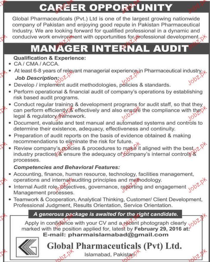 Manager Internal Audit Job Opportunity