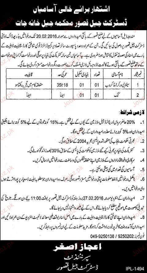Sanitary Workers and Cook Job in District Jail Kasur