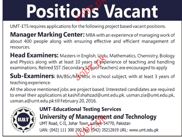 Manager Marketing Center, Head Examiners Job Opportunity