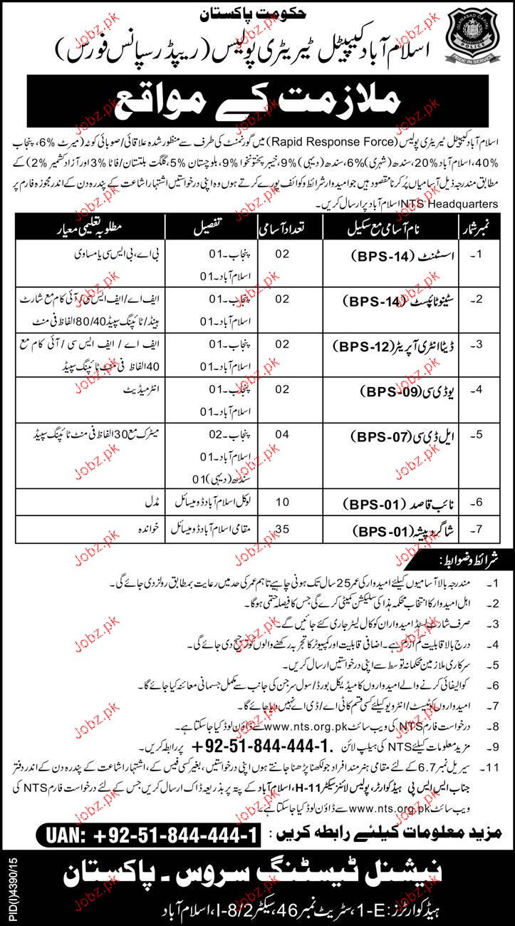 Assistants, Stenotypists, LDC Job in Islamabad Police