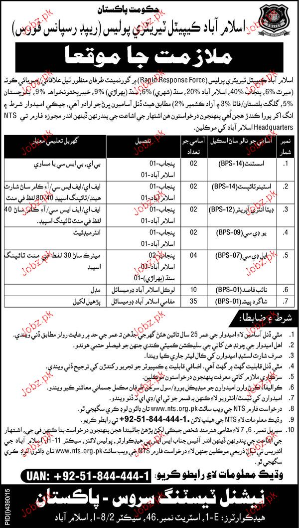 Assistants, Data Entry Operators Job in Islamabad Police
