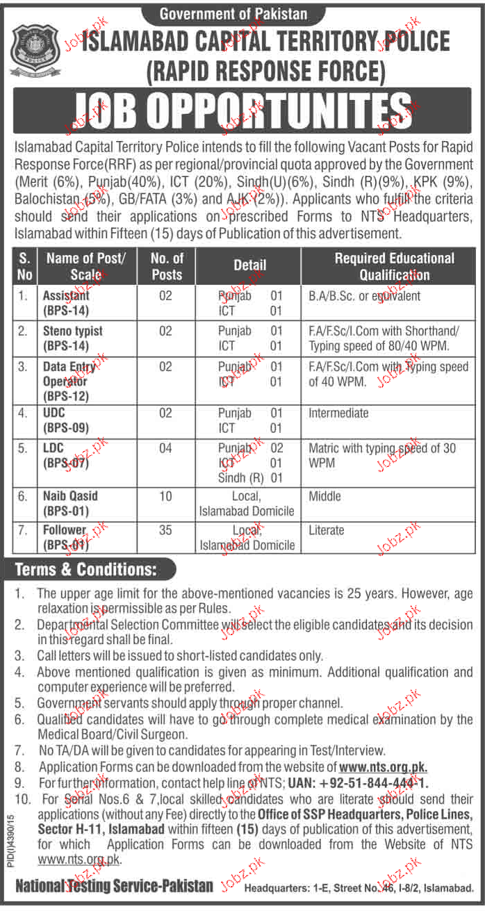 Assistant, Stenotypist, LDC Job in Islamabad Police