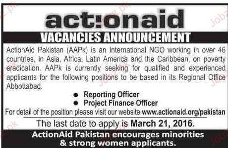 reporting officers and Project Finance Officers Wanted