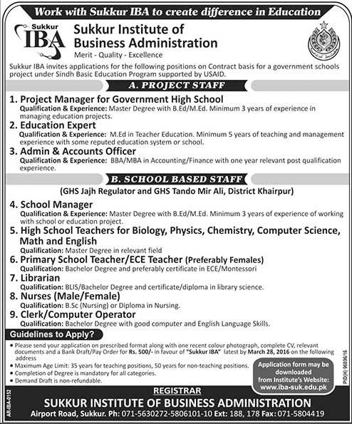 Teachers, Nurse, Managers for IBA Sukkur
