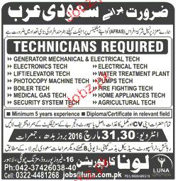 Technicians Job opportunity