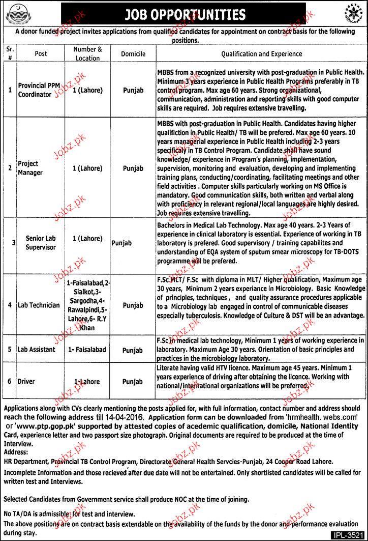 Provincial Coordinators, Project Manager Job Opportunity