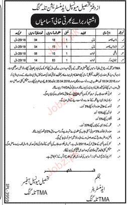 Naib Qasid, Mashkee and Sanitary Workers Job in TMA