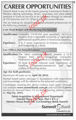 Unit Head and Law Officers Job in Summit Bank