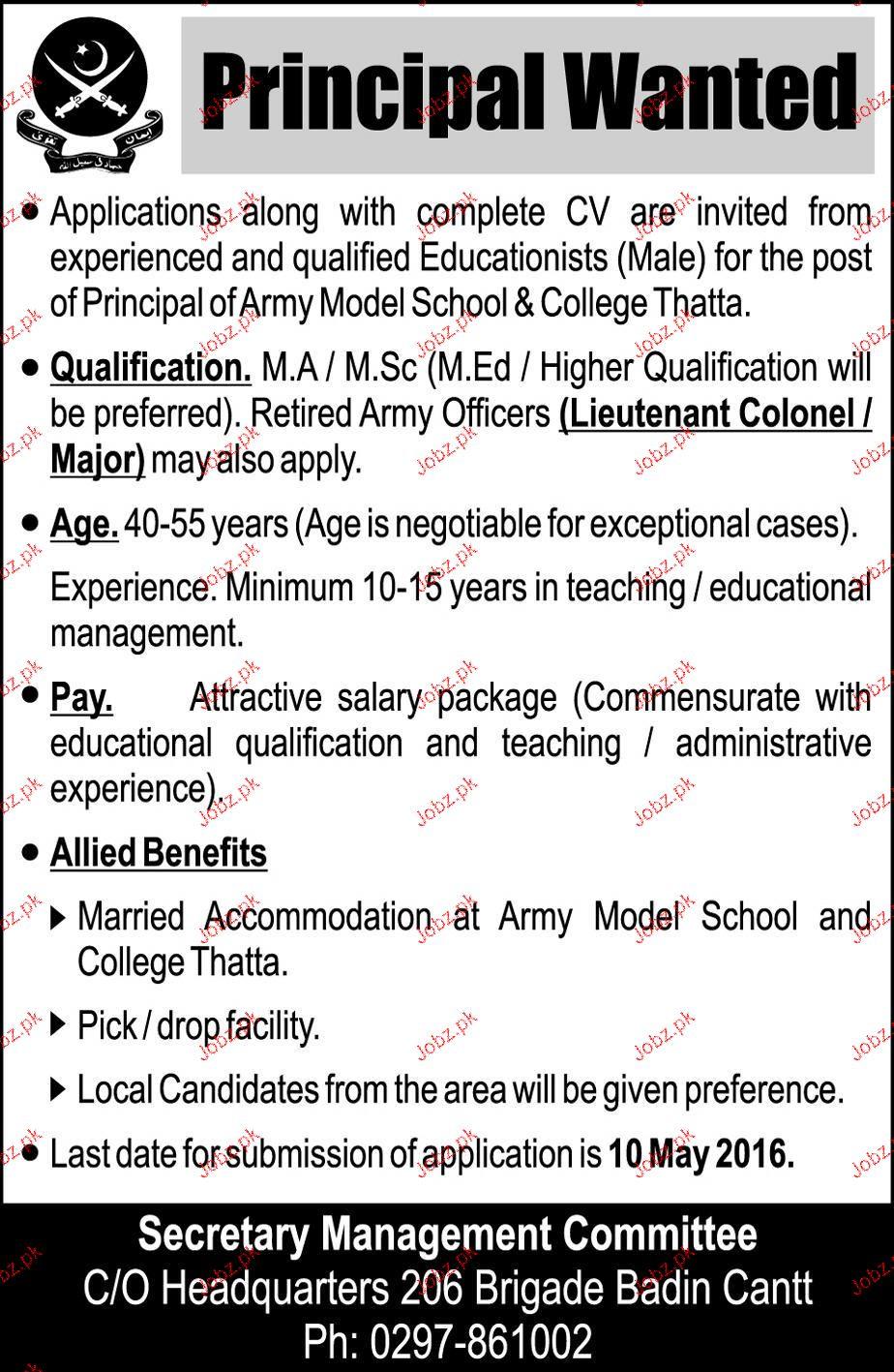 Principal Job in Army Model School & College