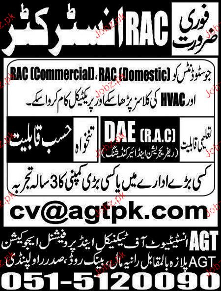 RAC Instructors Job in AGT Institute of Technical and Profes