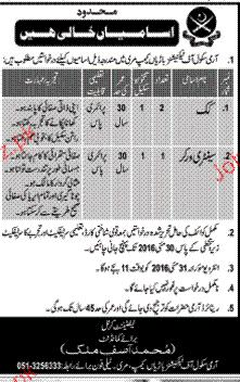 Cook and Sanitary Workers Job in Army School of Technicians