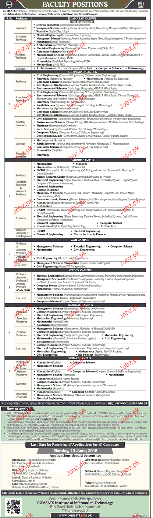 Teaching Job in COMSATS Institute of Information Technology