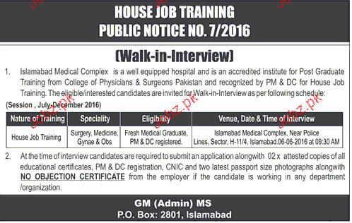 Doctors Job in Islamabad Medical Complex