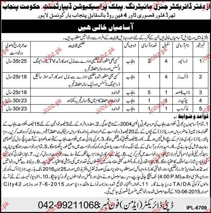 Drivers, Dak Runners, Naib Qasid and Sweepers Job Opportunit