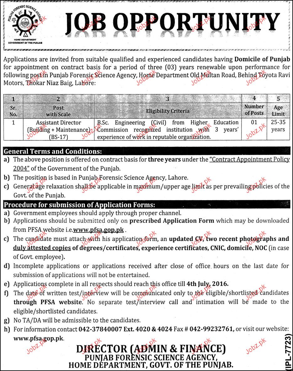 Assistant Director Job in Punjab Forensic Science Agency