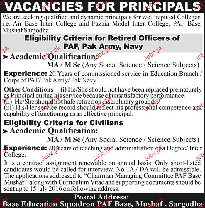Principal Job in Fazaia Model Inter College