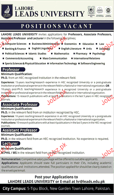Professors, Associate Professors Job Opportunity