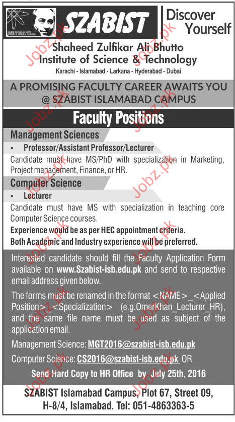 Assistant Professor and Lecturar required