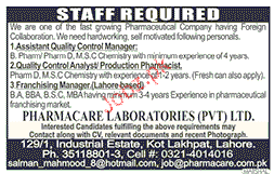 Assistant Quality Control / Manager Job Opportunity