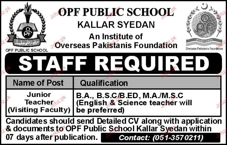 Junior Teachers Job in OPF Public School Kallar Syedan