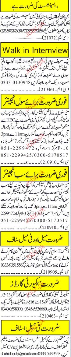 Receptionist, Civil Engineers, Sub Engineers Wanted