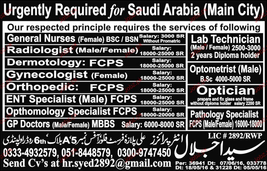 Radiologists, Gynecologists, ENT Specialists Job Opportunity