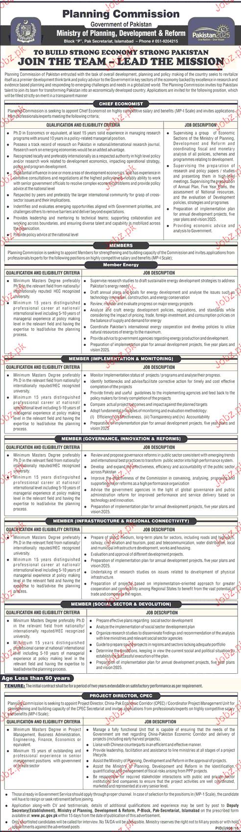Chief Economists, Project Director Job in Planning Departmen
