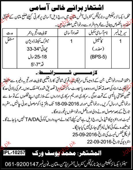 constable Job in Excise and Taxation Department