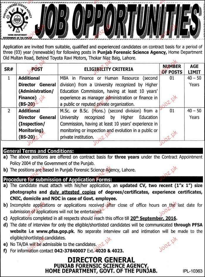 Additional Directors Job in Punjab Forensic Science Agency