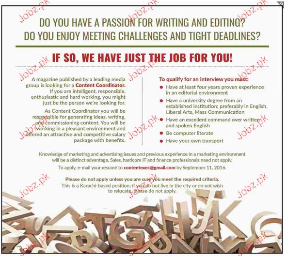 Content Coordinators Job Opportunity