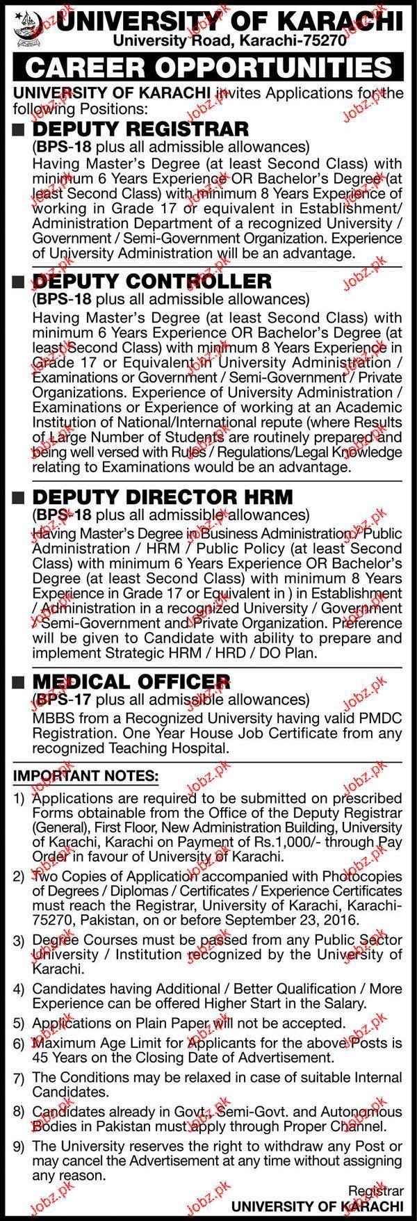 Deputy Registrar, Deputy Controllers Job in University