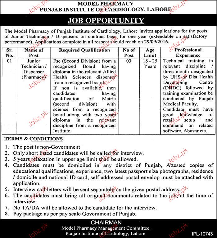 Junior Technicians Job in Punjab Institute of Cardiology