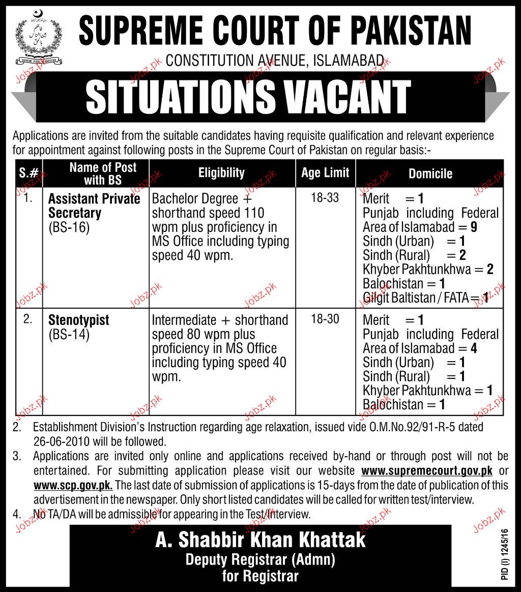 Assistant Private Secretary and Stanotypist Job Opportunity