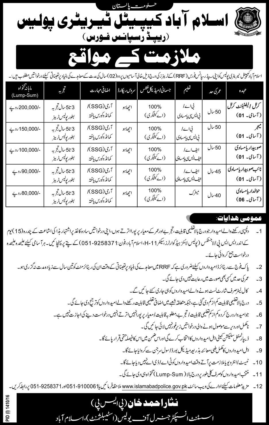 Recruitment of Retired Army Officers in Islamabad Police
