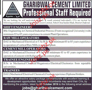 Shift Incharge, Mill Operators, Trainees Job Opportunity