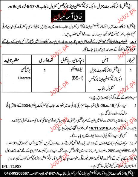 Excise & Taxation Job in Excise and Taxation Department