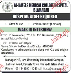 Staff Nurses and Phlebotomists Job Opportunity