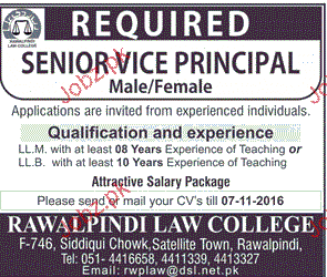 Senior Vice Principal Job in Rawalpindi Law College