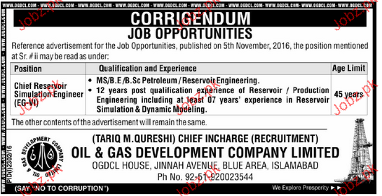 Chief Reservoir Simulation Engineers Job in OGDCL
