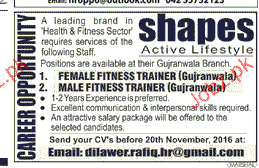 Male / Female Fitness Trainers Job Opportunity